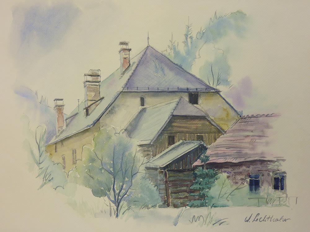 Altes Haus - Thörl, Colorierte Grafik,  Walter Lechthaler